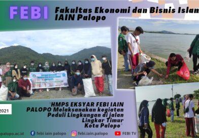 (HMPS) Ekonomi Syariah FEBI IAIN Palopo melaksanakan kegiatan peduli lingkungan di jalan Lingkar Timur Kota Palopo